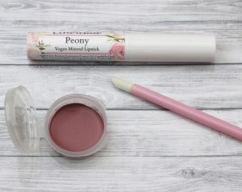 "Sheer Pink Vegan Lipstick - ""Peony"" all natural mineral lipstick"