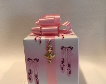 Ballerina Music box wrapped as a gift