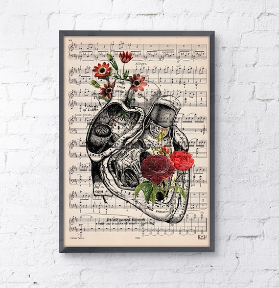 Heart with flowers over music sheet Love gift, first aniversary gift, Music student Girlfriend gift, music sheet SKA080MSL