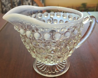 Vintage Hobnail Glass Creamer - Moonstone Opalescent Hobnail by Anchor Hocking