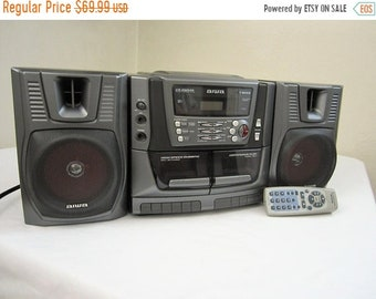 ON SALE Aiwa CA-Dw539 Dual Cassette Cd Carry Component Player Boombox Radio w/ Remote