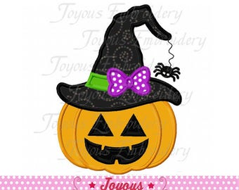 Instant Download Halloween Pumpkin Lantern Witch hat Applique Machine Embroidery Design NO:2216