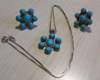 Sterling Silver and Turquoise Necklace and Earring Set