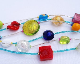 Colourful & Wide Murano Glass Bracelet
