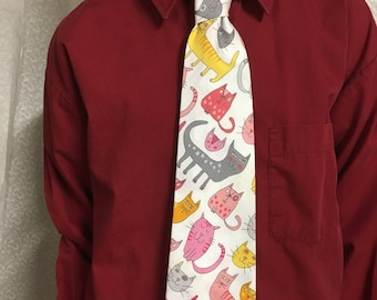 Necktie for young man, cats, age 4-12