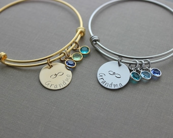 Grandma infinity bracelet - stainless steel wire bangle - silver or gold -Hand stamped - Swarovski crystal birthstones  Personalize any name