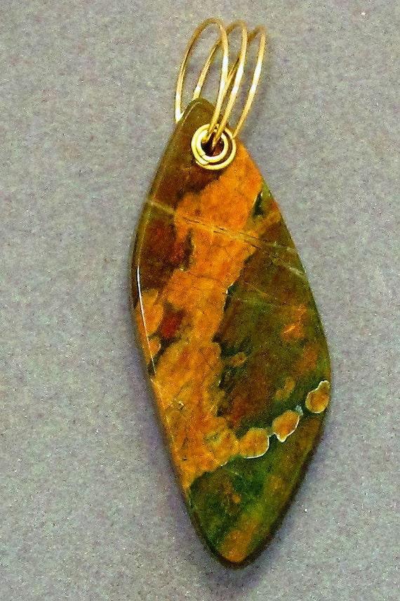 Jasper Pendant, brown tan, brass twirl bail 93ct