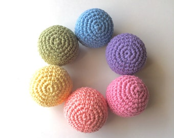 Crochet Ball Toy- Pastel Rainbow colors- Set of 6 balls- Baby first toy/ Birhtday/ Christmas/ Easter gift