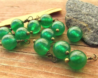 12 gemstone pendants Malaysian jade pendants bronze wire wrapped pendants earring findings earring pendants necklace pendants diy craft.
