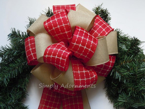 Red tartan Burlap Wreath Bow Country Christmas Topper Bow Red Cream Christmas Plaid Bow Rustic Cottage Christmas Tree Bow Burlap Wreath Bow
