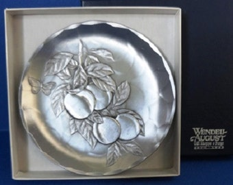 Vintage Wendell August Aluminum Hanging Peaches Coaster/Dish