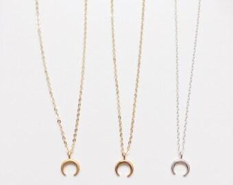 Little Boho Moon Choker   Necklace Gold Filled   Crescent Moon Crescent Moon Crescent double Horn Horn   Sterling Silver Gypsy Jewelry