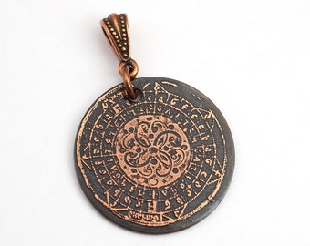 Etched spiral pendant, medieval illuminated manuscript design, optional necklace, 28mm
