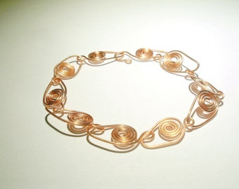 Copper jewelry Copper wire wrapped woman cuff Geometric bracelet with spirals. Copper woman bracelet. Gift for her. Handmade bracelet