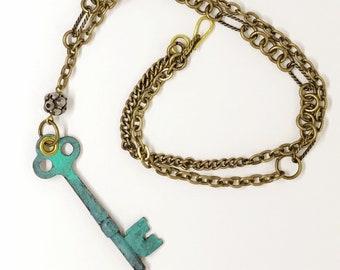 skeleton key steampunk patina green brass necklace