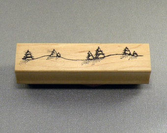 Pine Trees on a Hill Scene Rubber Stamp