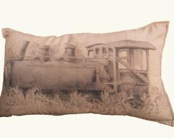 TRAIN ENGINE PILLOW - Decorative Train Locomotive Pillow Cover