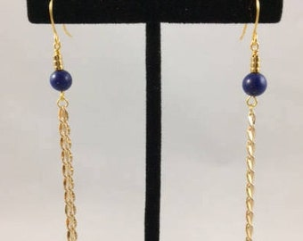 Long Chain Earrings Lapis