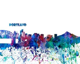 Portland Skyline in Clean Scissor Cut Style - Fine Art Print