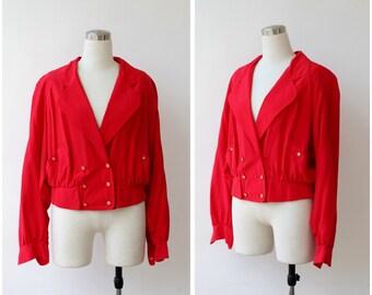 Silk Bomber Jacket Red Slk Jacket M, 1990s Slouch Jacket Medium