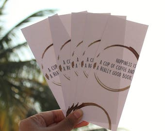 Book and coffee lovers bookmark