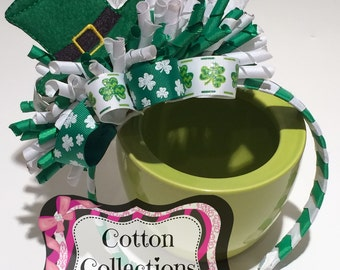 St Patrick's Day Funky Loopy Bow on Woven headband