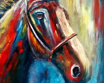 Ready for the Flight - Original Horse portrait Oil Painting 16 x 12