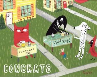 Funny Cat Congratulations Card with Cat n Crow Folk Art Animal Card