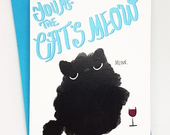 You're the cat's meow card // funny cat card // funny cat love card // cat love card // grumpy cat love card