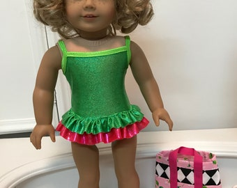 American made double ruffle Suncatcher Swimsuit/ bag and sandals  made to fit 18 inch dolls such as American Girl