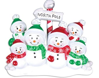 North Pole Family of 6 Personalized Christmas Ornament - Personalized Names