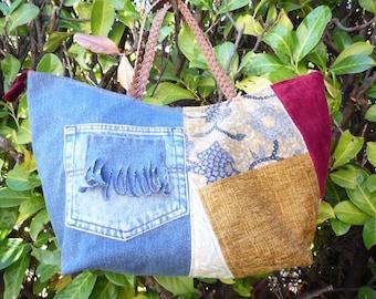Large denim and velvet tapestry bag
