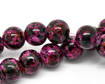 20 Cranberry Mottled Glass Beads 8mm BD225