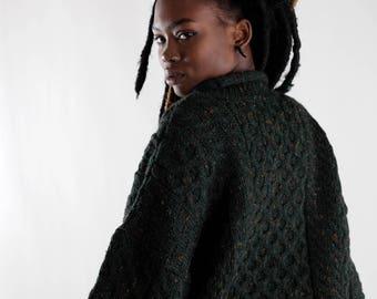 Green blended vintage wool sweater / Oversized chunky sweater / Fisherman's cable sweater / Irish Knitwear / Men's Women's sweater / Size L