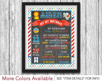 Circus Chalkboard Poster - Printable First Birthday Chalkboard Poster - Personalized Digital File - ANY AGE