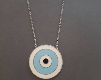 Large Round enamel polish evil eye necklaces , gold or rose gold or silver, various enamel colors, 925 sterling silver.