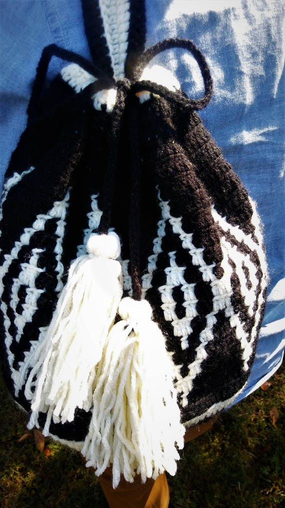 Black and White Wayuu Mochilla Drawstring Tapestry Crochet Bag (CHOOSE YOUR COLORS)