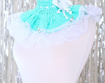 Neck Warmer - Victorian Style Fashion Collar in Mint with White Lace - Lots of Colors