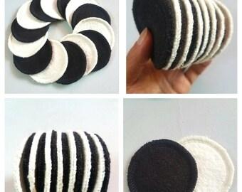 14 reusable hemp fleece mini makeup remover pads organic cotton facial cleansing rounds black/white