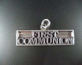 STERLING SILVER First Communion Charm for Charm Bracelet