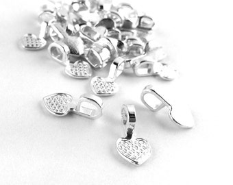 10pcs / 200pcs WHOLESALE Bails - Silver Plated Heart Blank Glue On Bails Jewelry Findings -Craft Supply Necklace Bail Bulk DIY Bead