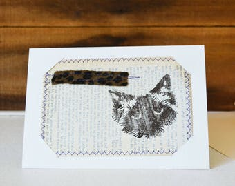 Cat Print Card - Small Mixed Media Art Print on Vintage book Upcycled wall art