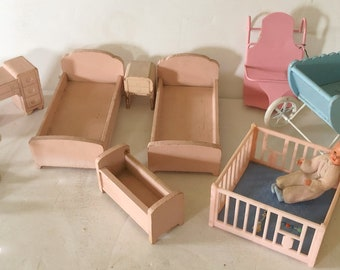 Vintage Dollhouse Furniture / Baby, 10 Pc.