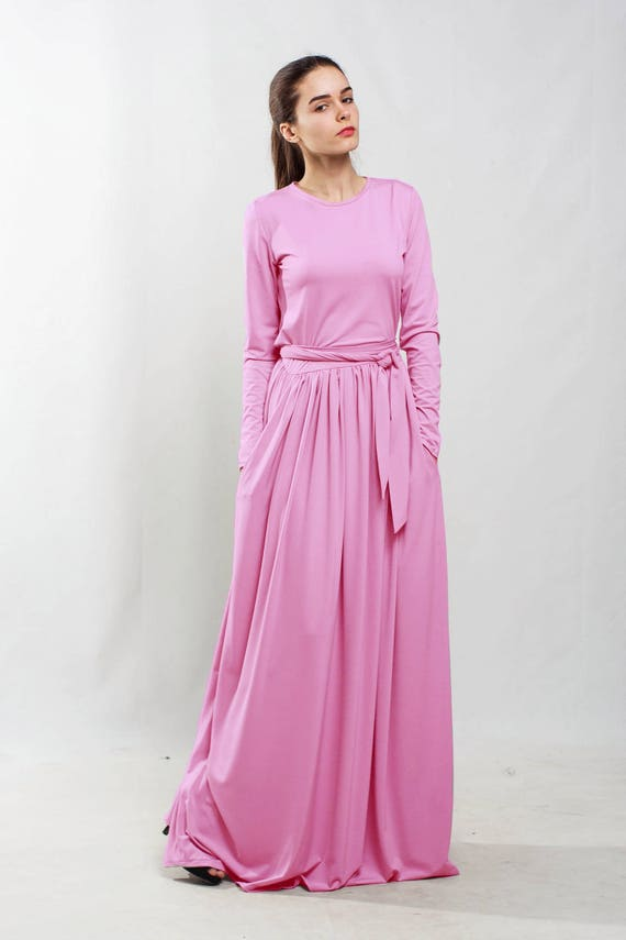 Cocktail dress Evening long sleeve dress Prom pink dress