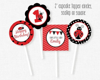 Ladybug Cupcake Toppers, Red and Black, Ladybug Party Decorations, Printable Birthday Party Circles