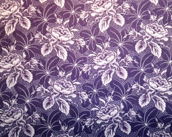 NEW Quilting Fabric BY the YARD, Sara Morgan Dark Chocolate & Lilac 1850, Blue Hill, Home Sewing, Piecing Quilting Fabric, Dress Fabric