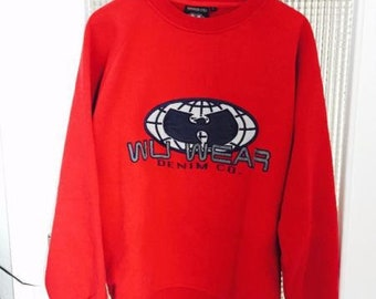 WU WEAR sweatshirt, Wu Tang jacket, vintage hip hop sweat shirt, 1996 sewn authentic Wu Tang Clan jersey 90s gangsta rap size L