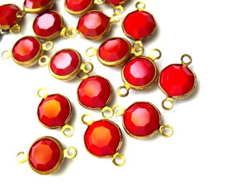 6 Vintage connector beads Swarovski red crystal channel beads made in Austria