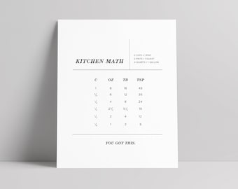 Kitchen Conversions Chart, Kitchen Print, Kitchen Art, Cooking Conversions