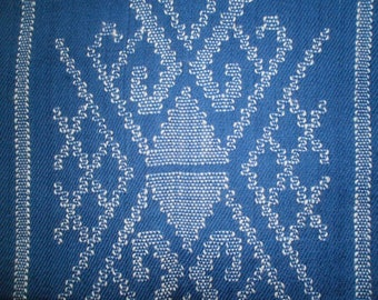 100% NZ Lambswool Hand woven and Hand Knotted Stole in Mid Blue with cream detail.